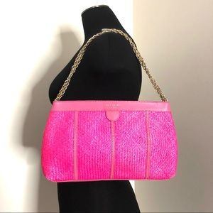 Authentic Kate Spade Pink Woven Straw Leather Gold Chain Shoulder Purse Bag